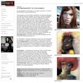 Lucia Guanaes - article - Transfigurations - Fotosite - 2007-01-23