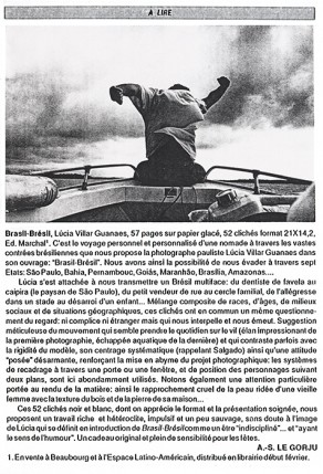 Lucia Guanaes - presse - Brasil Brésil - Infos-brésil - 1989-01
