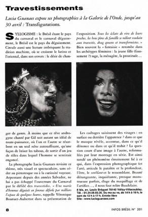 Lucia Guanaes - article - Transfigurations - Infos-Brésil - 2004-04