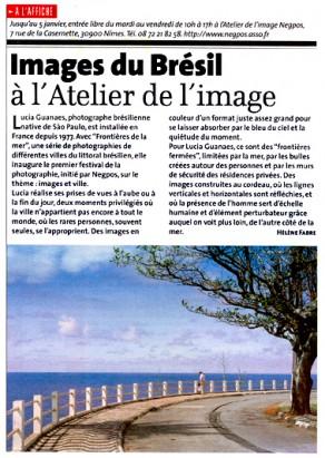Lucia Guanaes - article - Frontières de la Mer - Gazette de Nîmes - 2005/11